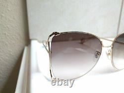 Nouvelles Lunettes De Soleil Gucci Gg0252s 003 Gold Frame Brown Lens Oversized