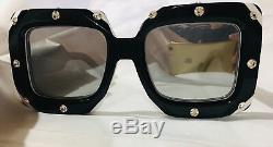 Nouvelles Lunettes De Soleil Gucci Gg0481 Oversize Crystals Square Black Mirror Authentic
