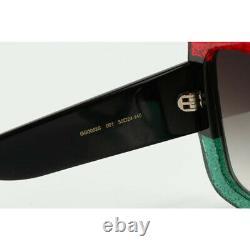 Nouvelles Lunettes De Soleil Gucci Urban Gg0083s 001 Square Red Green Black 100% Authentique