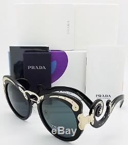 Nouvelles Lunettes De Soleil Prada Pr07ts 1ab1a1 Black Swirls Minimal Baroque Pr 07 Authentic