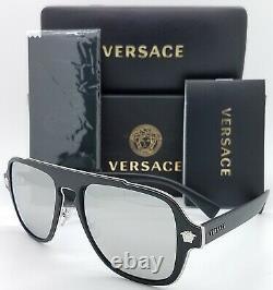 Nouvelles Lunettes De Soleil Versace Ve2199 10006g 56mm Black Grey Silver Mirror Authentic Nib