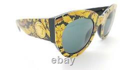 Nouvelles Lunettes De Soleil Versace Ve4353 528387 51mm Baroque Yellow Grey Authentic Cat Eye