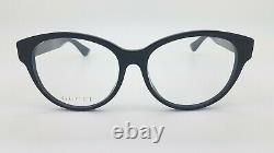 Nouvelles Lunettes Gucci Cateye Rx Frame Black Gold Gg0039oa 001 54mm Authentic Round