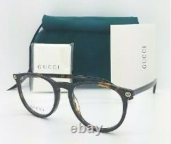 Nouvelles Lunettes Gucci Rx Frame Havana Gold Gg0027o 002 50mm Authentic Round 0027o