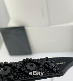 Prada Lunettes De Soleil Cateye 10t 1ab-spr 5s0 Noir Or Gris Cadre Objectif Ornement Nouveau