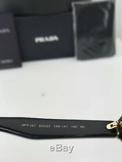 Prada Lunettes De Soleil Rondes Spr 05t Pr 05t Noir Gris Lentille 1ab-1a1 Brand New