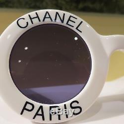 Rare Chanel Iconic Paris Lunettes De Soleil Rondes Blanches # 01945/10601 Excell
