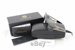 Rare Véritable Versace Rock Icône Noire Or Pâle Bouclier Lunettes De Soleil Ve 2166 1252-1287