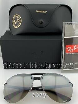 Ray-ban Rb4293ch Lunettes De Soleil Aviateur 601s5j Matte Black Silver Mirror Polarisé