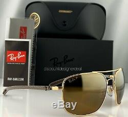 Ray-ban Rb8322ch 001 / A3 Lunettes De Soleil D'or Gold Frame Mirror Carbon 62mm Polarized