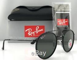 Ray-ban Round Double Pont Rb3647n 002/58 Lunettes De Soleil Noir Vert Polarisants 51mm