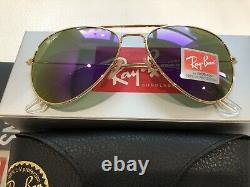 Ray-ban Unisex Aviator Violet Purple Lunettes De Soleil Femmes Flash Lentilles Etats-unis
