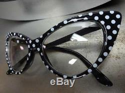 Retro Vintage Cat Eye Style De Lentille Claire Lunettes Noir Et Blanc Polka Dot Cadre