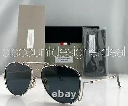 Thom Browne Aviator Lunettes De Soleil Silver Gold Titanium Frame Gray Lens Tbs917-a-01