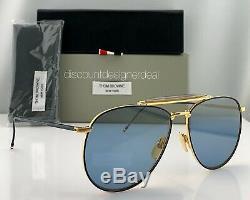 Thom Browne Aviator Tb-015-ltd-nvy-gry Navy Blue Gold Flash Objectif 62