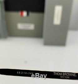 Thom Browne Lunettes De Soleil Aviateur Noir Mat Or Pâle Métal Gris Tb-809-a-blk-gld