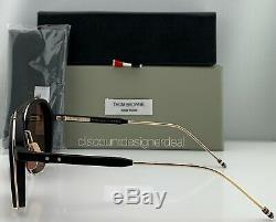 Thom Browne Lunettes De Soleil Aviateur Tbs810-56-01 Gold Frame Noir Brun Lens Nouveau