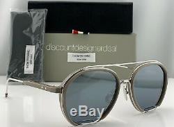 Thom Browne Lunettes De Soleil Aviateur Tbs810-56-02 Gris Argent Frame Flash Objectif Nouveau