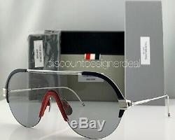 Thom Browne Lunettes De Soleil Aviateur Tbs811-144-03 Rouge Blanc Bleu Argent Frame Lentille