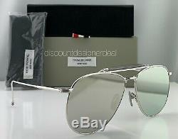 Thom Browne Lunettes De Soleil Aviator Tb-015-ltd-slv Argent Argent Frame Miroir Objectif 62