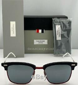 Thom Browne Lunettes De Soleil Clubmaster Bleu Rouge Blanc Argent Objectif Tb-711-d-t-nvy-rouge