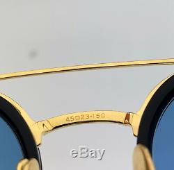 Thom Browne Lunettes De Soleil Rondes Tb804-b-nvy-gld Or Bleu Marine Blue Frame Objectif 45mm