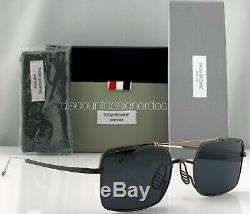 Thom Browne Rectangulaire Lunettes De Soleil D'or Tbs909-49-04 Black Metal Cadre Gris Lens