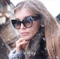 Tom Ford Tf 371 01b Lunettes De Soleil Anoushka Black Gold Smoke Grey Femme Cateye Italie