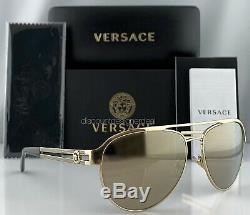 Versace Aviator Ve2165 Lunettes De Soleil Pale Gold Gold Mirror 1252 / 5a 58mm Neuf
