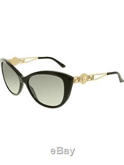Versace Lunettes De Soleil Black Cat Eye Ve4295-gb1 / 11-57 Pour Femmes