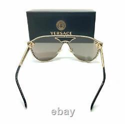 Versace Ve2161b 12525a Pale Gold Brown Mirror Lens Lunettes De Soleil Femmes 42mm