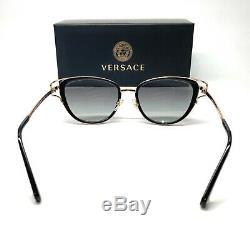 Versace Ve2203 143811 Noir Or Gris Grad Objectif Femmes Lunettes De Soleil Cat Eye 53mm