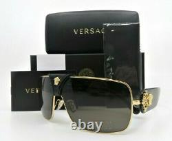 Versace Ve2207-q 1002/3 Baroque Shield Gold Medusa Havana Lunettes De Soleil New Withbox