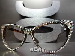 Vintage 60 's Cat Eye Style Lentille Transparent Lunettes Yeux Cristaux Iridescent Fait Main