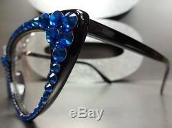 Vintage 60 's Cat Eye Style Pour Femmes Verre Clair Lunettes Yeux Cristaux Bleus Fait À La Main